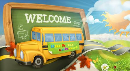 escuela caricatura: Camino al vector de fondo de la escuela