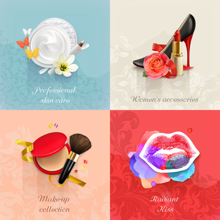 cosmetic beauty: Beauty and cosmetics, set of concepts vector backgrounds