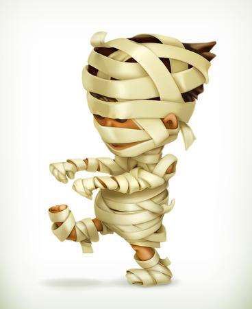 Pequeña momia divertida, icono del vector