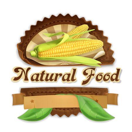 mazorca de maiz: Maíz maduro, diseño de etiquetas de vectores