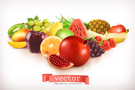 fruta tropical: Cosecha de fruta jugosa y madura, ilustración vectorial aislado en blanco