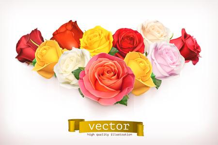 バラの花束、白で隔離のベクトル図  イラスト・ベクター素材