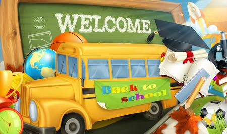 vector school: Road to school vector background