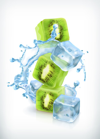kiwi: Kiwi with ice cubes and water splash, vector icon