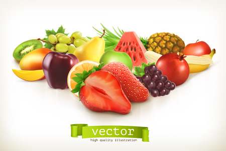 frutas tropicales: Cosecha de frutas y bayas jugosas, ilustraci�n vectorial aislados en blanco