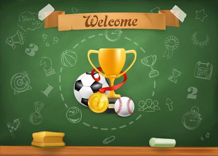 sport ecole: Les sports scolaires, des infographies, vecteur, fond Illustration