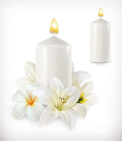 lily: White candle and white flowers, vector icon Illustration