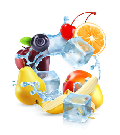 refrigerate: Multifruit with ice cubes and water splash, vector icon