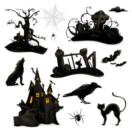 cuervo: Halloween conjunto de siluetas negras de vectores