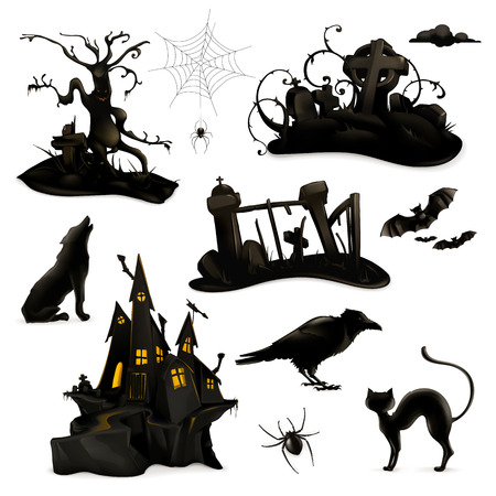 crow: Halloween set of vector black silhouettes Illustration
