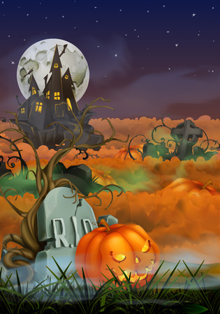 monsters house: Happy Halloween vector background Illustration