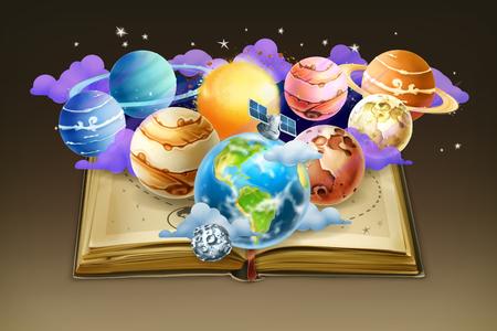 luna caricatura: Libro con los planetas, vector de fondo