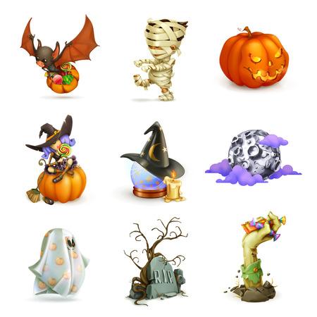 brujas caricatura: Conjunto feliz Halloween de iconos vectoriales