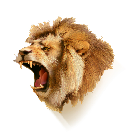 3d lion: Roaring lion, head vector illustration
