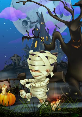 mummified: Happy Halloween, vector background Illustration