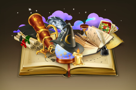 ancient scroll: School and book, vector background