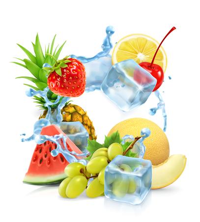 cubo: Multifrutas con cubitos de hielo y salpicaduras de agua, vector Vectores