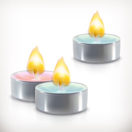 smell of burning: Aromatic candles, vector icons