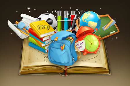 school backpack: School and book, vector background