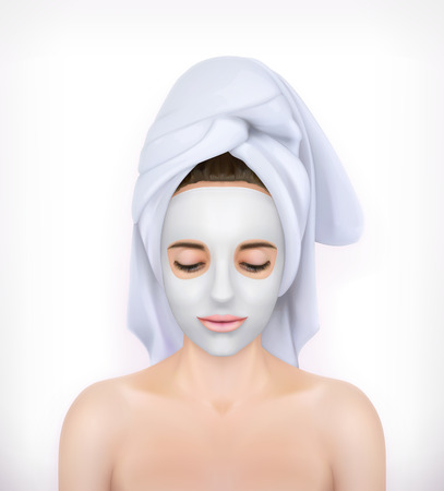 clay mask: Young woman with face mask and a towel, isolated on white background