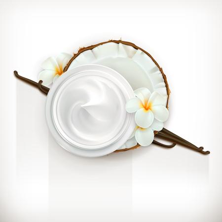 coconuts: Health and care cream vanilla coconut, vector icon, isolated on white background