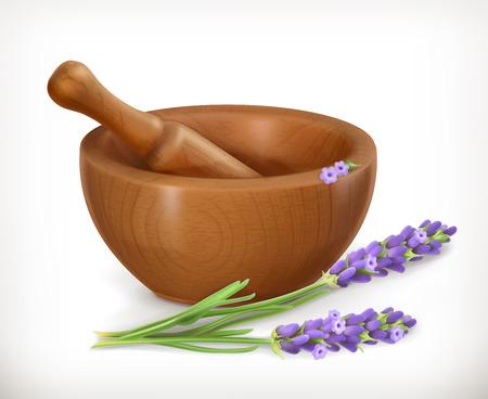 flor de lavanda: Lavanda y mortero de madera, icono de vector, aislado en fondo blanco