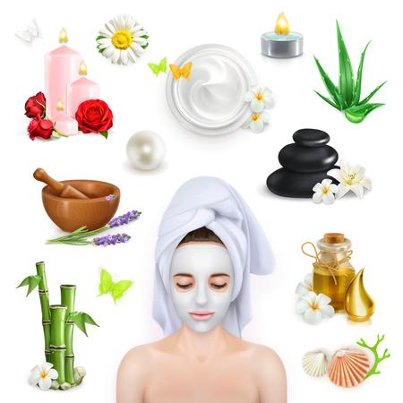 masaje facial: Set con spa, belleza y cuidado de iconos vectoriales