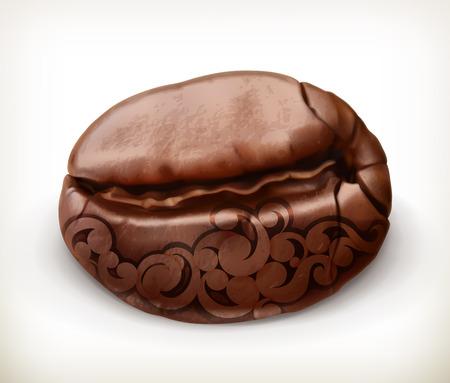 grano de cafe: Grano de café con el patrón, icono de vector, aislado en fondo blanco