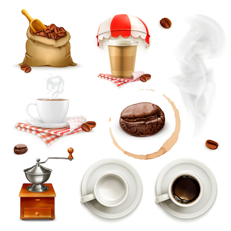 Set with coffee icons and elements, isolated on white background