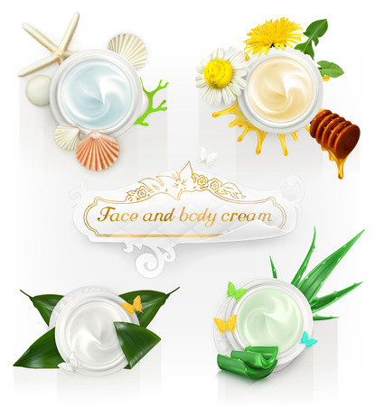 aloe vera plant: Set with cream concepts, vector illustrations Illustration