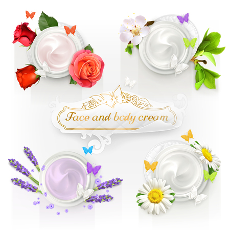 lavender: Set with cream concepts, vector illustrations Illustration