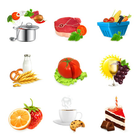 food icons: Set with food illustration vector icons, isolated on white background