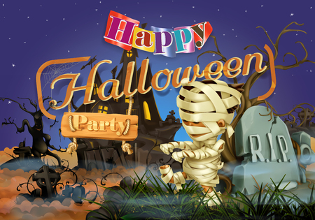 horror house: Happy Halloween party, mummy vector background Illustration
