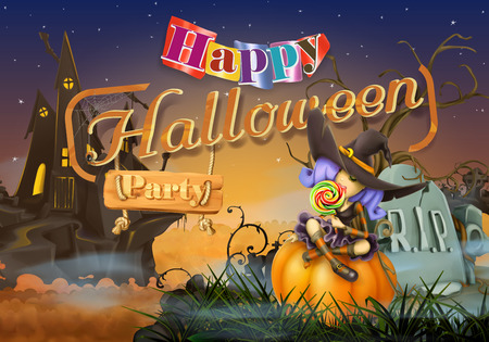 cartoon halloween: Happy Halloween party, witch vector background