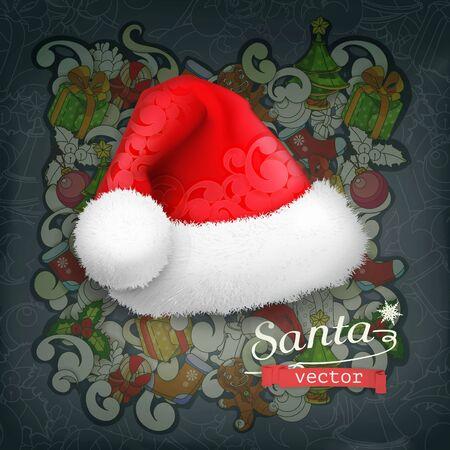 hat santa: Santa Claus hat, vector icon Illustration