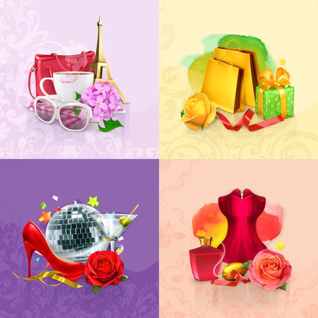 red rose: Set wuith beauty and cosmetics concepts, vector backgrounds Illustration