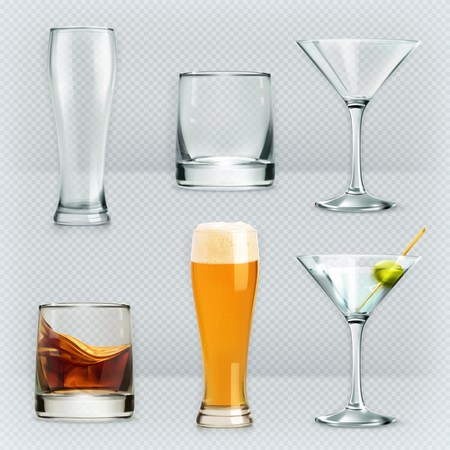 Set with glasses, alcohol drinks vector icons Çizim