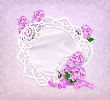Lace frame, lilac romantic vector background