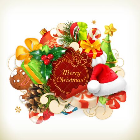 group of objects: Merry Christmas, group of vector objects