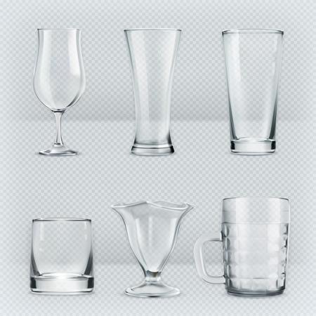 vidro: Definir com taças de vidros transparentes, ícones do vetor Ilustração