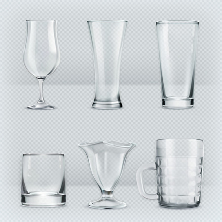 champagne glasses: Set with transparent glasses goblets, vector icons