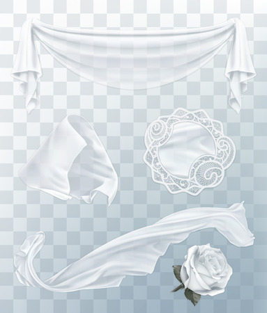 white flag: White cloth with transparency, set with vector elements Illustration