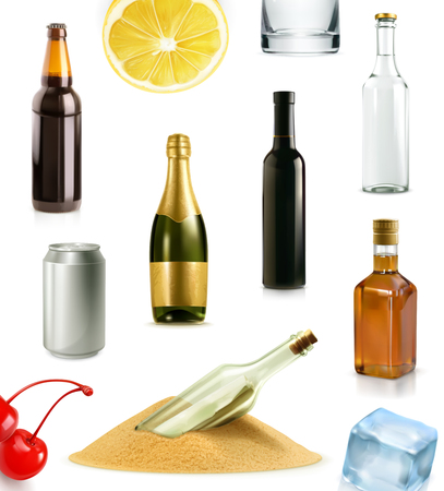 drunk party: Alcohol drink in bottle, vector icons set, isolated on white background