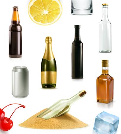alcool: Boire de l'alcool dans une bouteille, vecteur ic�nes ensemble, isol� sur fond blanc