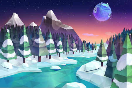 cartoon park: Winter forest, vector background low poly style Illustration