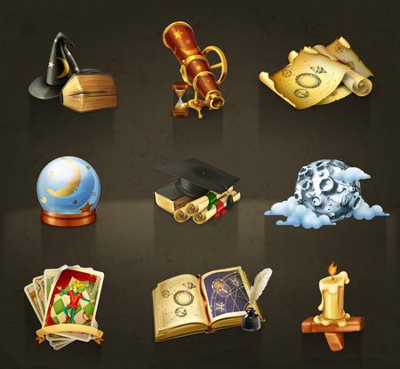 magie: Set avec icônes vectorielles de l'astrologie sur sombre