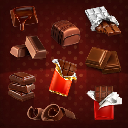 chocolate candy: Set with chocolate bars and pieces, vector icons on dark