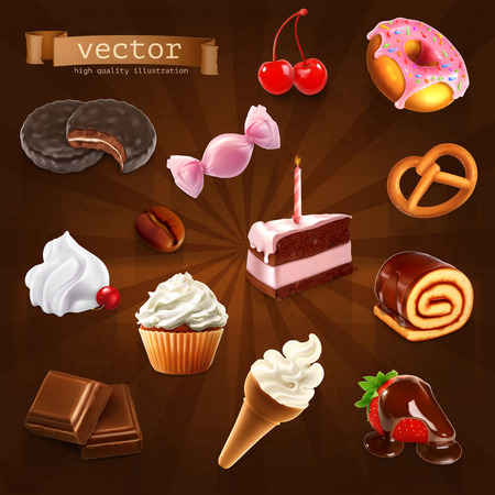 confectionery: Set with confectionery, vector icons Illustration