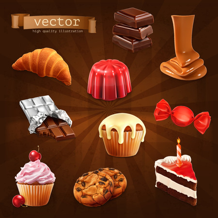 chocolate cookies: Set with confectionery, vector icons Illustration
