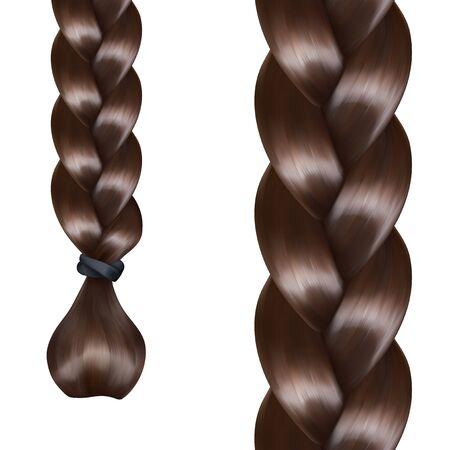 braids: French braid, vector seamless pattern Illustration